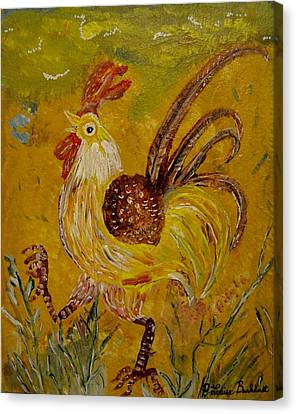 Crazy Chicken Canvas Print by Louise Burkhardt