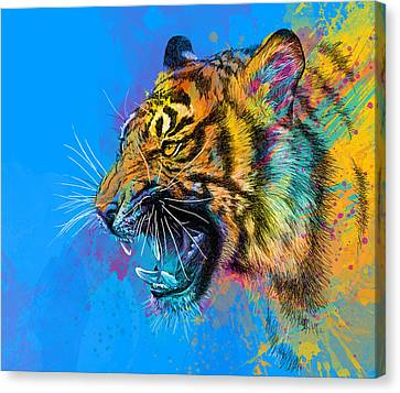 Crazy Tiger Canvas Print by Olga Shvartsur