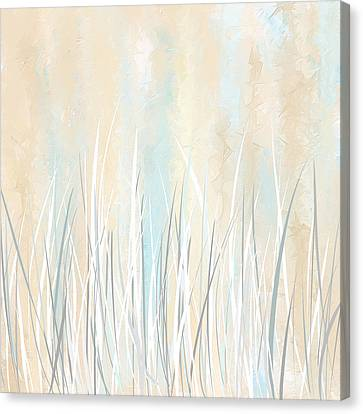 Cream And Teal Art Canvas Print by Lourry Legarde