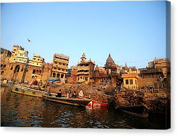 Cremation Ghat Of Varanasi Canvas Print by Money Sharma