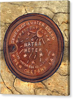 Crescent City Water Meter Canvas Print by Elaine Hodges