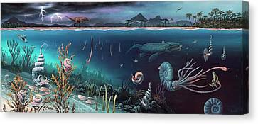 Cretaceous Land And Marine Life Canvas Print by Richard Bizley