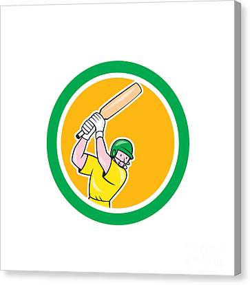 Cricket Player Batsman Batting Circle Cartoon Canvas Print by Aloysius Patrimonio