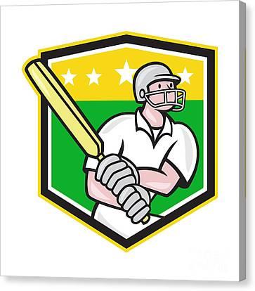Cricket Player Batsman Batting Shield Star Canvas Print by Aloysius Patrimonio