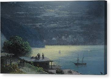 Crimean Coast By Moonlight Canvas Print by Ivan Konstantinovich Aivazovsky