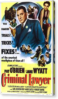 Criminal Lawyer, Us Poster, Pat Obrien Canvas Print by Everett