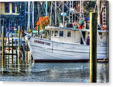 Crimson Tide In Harbor Canvas Print by Michael Thomas