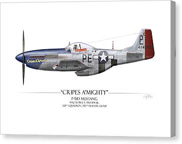 Cripes A Mighty P-51 Mustang - White Background Canvas Print by Craig Tinder