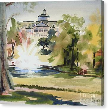 Crisp Water Fountain At The Baptist Home IIi Canvas Print by Kip DeVore