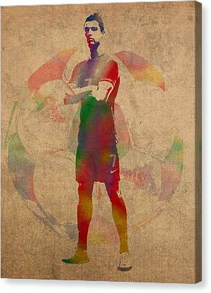 Cristiano Ronaldo Soccer Football Player Portugal Real Madrid Watercolor Painting On Worn Canvas Canvas Print by Design Turnpike