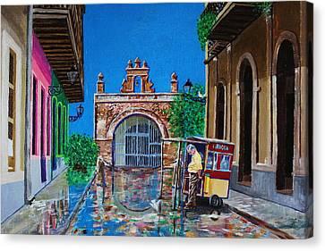 Cristo Street - Old San Juan Canvas Print by The Art of Alice Terrill