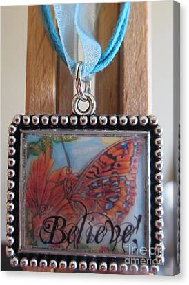 Believe...a Colorful Butterfly Lights Upon A Tiger Lily In A Necklace Canvas Print by Kimberlee Baxter