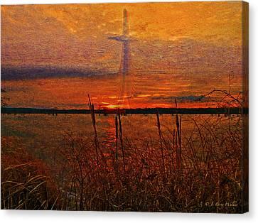 Cross At Sunrise Canvas Print by J Larry Walker