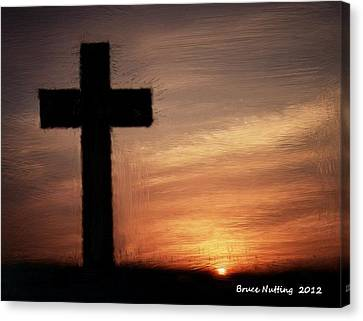 Cross In The Sunset Canvas Print by Bruce Nutting