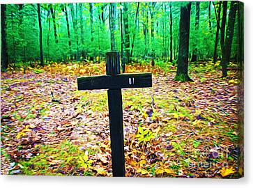 Cross In Woods Canvas Print by Laura D Young