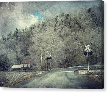 Crossing Into Winter Canvas Print by Kathy Jennings