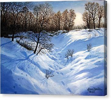 Crossing Paths Canvas Print by Artist Karen Barton