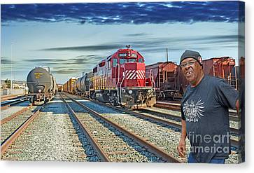 Crossing The Train Track  Canvas Print by Jim Fitzpatrick