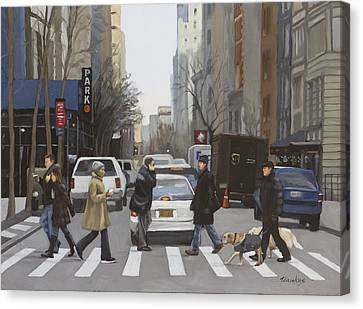 Crosswalk Canvas Print by Linda Tenukas