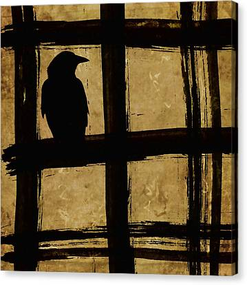Crow And Golden Light Number 1 Canvas Print by Carol Leigh