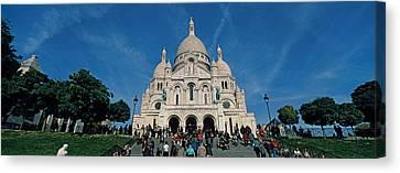 Crowd At A Basilica, Basilique Du Sacre Canvas Print by Panoramic Images