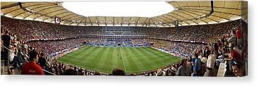 Crowd In A Stadium To Watch A Soccer Canvas Print by Panoramic Images