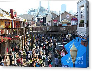 Crowds At Pier 39 San Francisco California 5d26093 Canvas Print by Wingsdomain Art and Photography