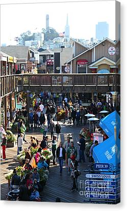 Crowds At Pier 39 San Francisco California 5d26096 Canvas Print by Wingsdomain Art and Photography