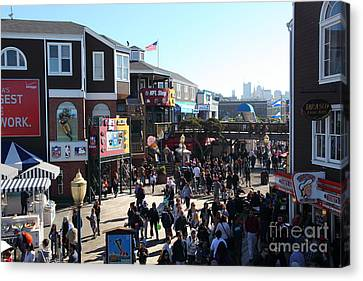 Crowds At Pier 39 San Francisco California 5d26127 Canvas Print by Wingsdomain Art and Photography