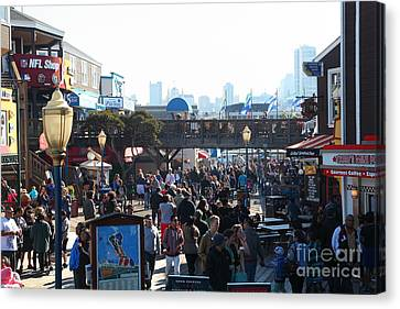 Crowds At Pier 39 San Francisco California 5d26134 Canvas Print by Wingsdomain Art and Photography
