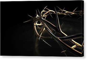 Crown Of Thorns Gold On Black Canvas Print by Allan Swart