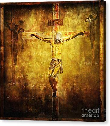 Crucified Via Dolorosa 12 Canvas Print by Lianne Schneider