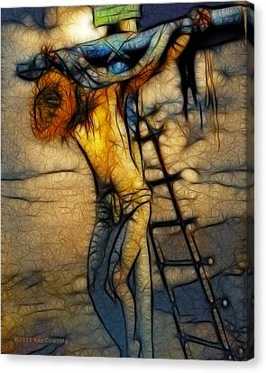 Crucifixion - Stained Glass Canvas Print by Ray Downing