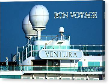 Cruise Ship Ventura's Radar Domes Canvas Print by Terri Waters