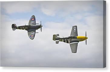 Cruising Spitfire And Mustang  Canvas Print by Maj Seda