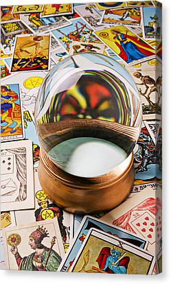 Crystal Ball And Tarot Cards Canvas Print by Garry Gay
