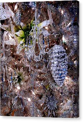 Crystal Silver Tinsel Tree Canvas Print by Janine Riley