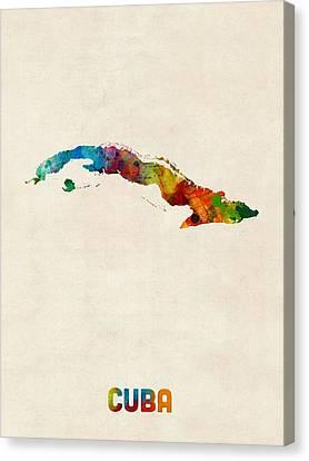 Cuba Watercolor Map Canvas Print by Michael Tompsett
