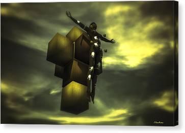 Cube Cross Canvas Print by Ramon Martinez