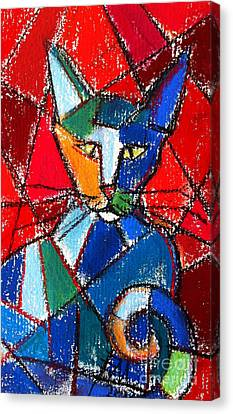 Cubist Colorful Cat Canvas Print by Mona Edulesco