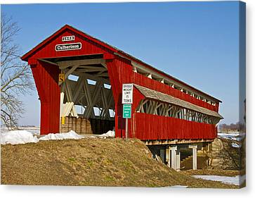 Culbertson Or Treacle Creek Covered Bridge Canvas Print by Jack R Perry