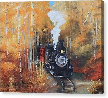 Cumbres And Toltec Railroad Steam Train Canvas Print by Cecilia Brendel