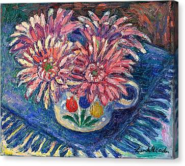 Cup Of Flowers Canvas Print by Kendall Kessler