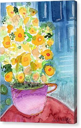 Cup Of Yellow Flowers- Abstract Floral Painting Canvas Print by Linda Woods