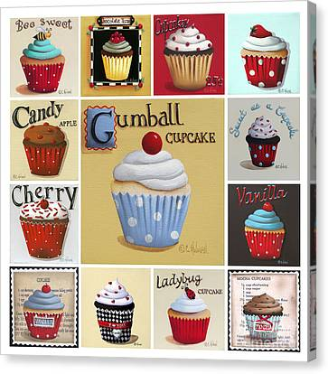 Cupcake Collage Canvas Print by Catherine Holman