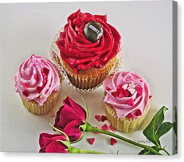 Cupcakes And Roses Canvas Print by Kenny Francis