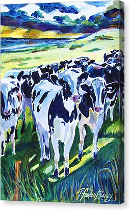 Curiosity Cows Original Sold Prints Available Canvas Print by Therese Fowler-Bailey