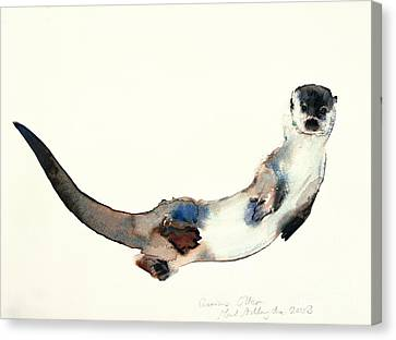 Curious Otter Canvas Print by Mark Adlington