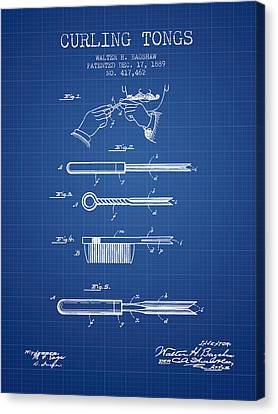 Curling Tongs Patent From 1889 - Blueprint Canvas Print by Aged Pixel