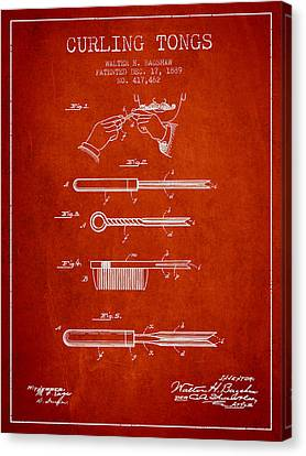 Curling Tongs Patent From 1889 - Red Canvas Print by Aged Pixel